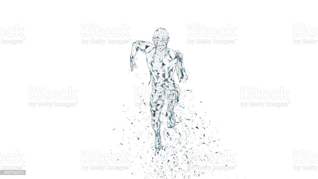 Conceptual abstract running man. Runner with connected lines, dots, triangles. Artificial intelligence, digital sport concept. High technology vector digital background. 3D render vector illustration vector art illustration