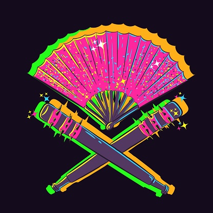 Conceptual art of a fan with two wooden clubs glowing under UV neon lights. Japanese pink object with two baseball bats, glitter and nails.