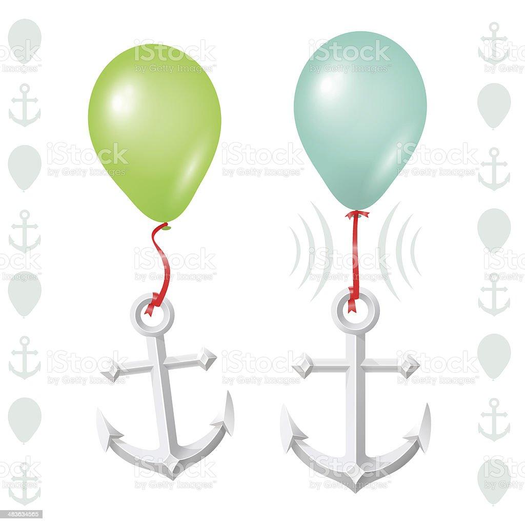 Conceptual balance between balloon and anchor royalty-free stock vector art