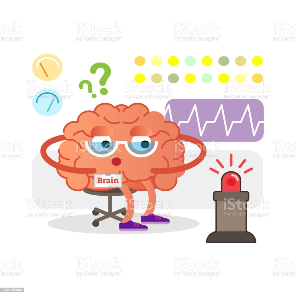 Conceptual Brain Cartoon Character Monitoring And Receiving Signals ...