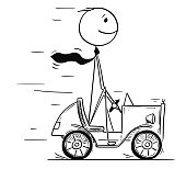 Cartoon stick man drawing conceptual illustration of businessman driving small car on his way to success. Business concept of success and career.