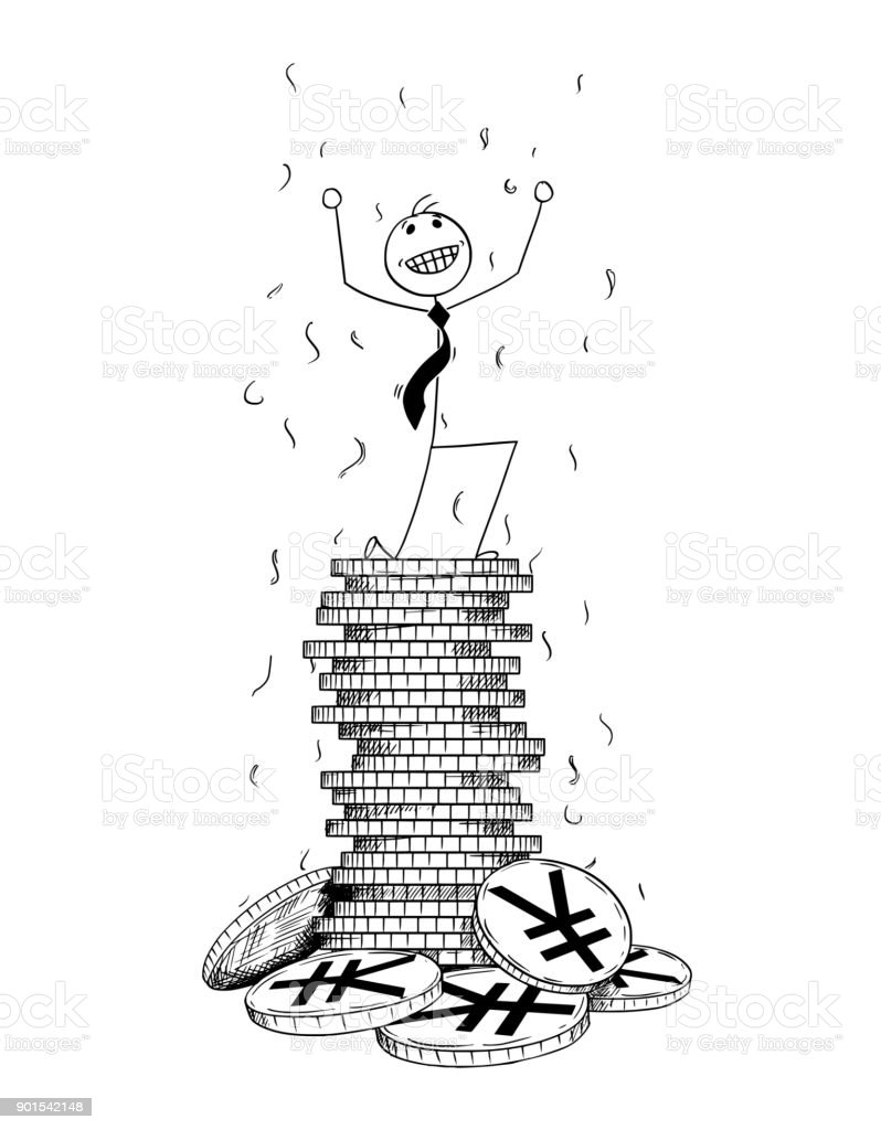 Conceptual Cartoon of Businessman Enjoying on Pile of Yuan or Yen Coins vector art illustration
