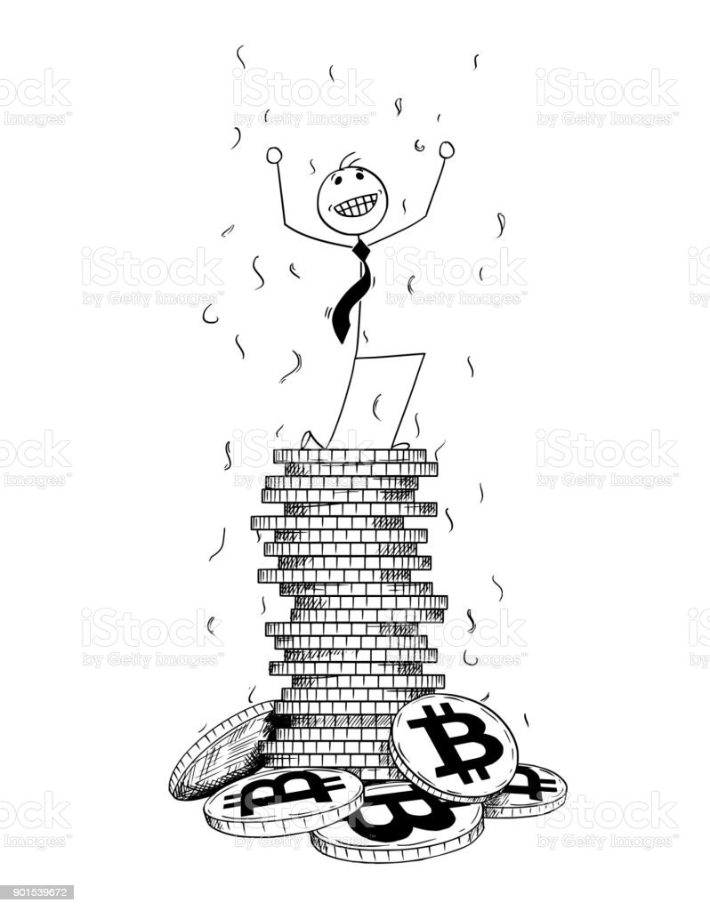 Conceptual Cartoon of Businessman Enjoying on Top of Pile of Bitcoin Coins vector art illustration