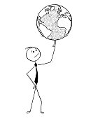 Cartoon stick man drawing conceptual illustration of businessman with world earth globe on finger. Concept of international worldwide global business success.