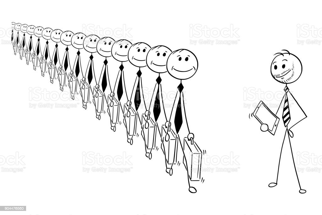 Conceptual Cartoon of Identical Businessmen and Individuality vector art illustration