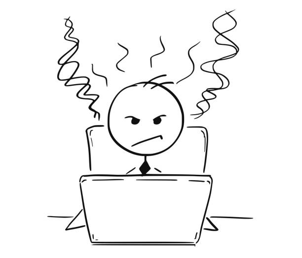 Conceptual Cartoon of Tired Angry Business Man Working on Computer Cartoon stick man drawing illustration of businessman or student tired and angry working on computer laptop notebook. displeased stock illustrations