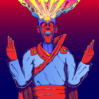Conceptual character vector illustration - Meditating oracle. Open third eye. Insight concept.
