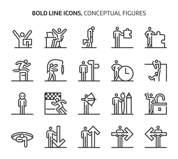conceptual figures, bold line icons - jumping stock illustrations