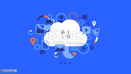Conceptual flat vector illustration for cloud hosting. Moution animation ready cloud concept. Simple and clean blue vector background.