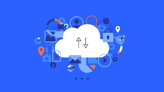 Conceptual flat vector illustration for cloud hosting.