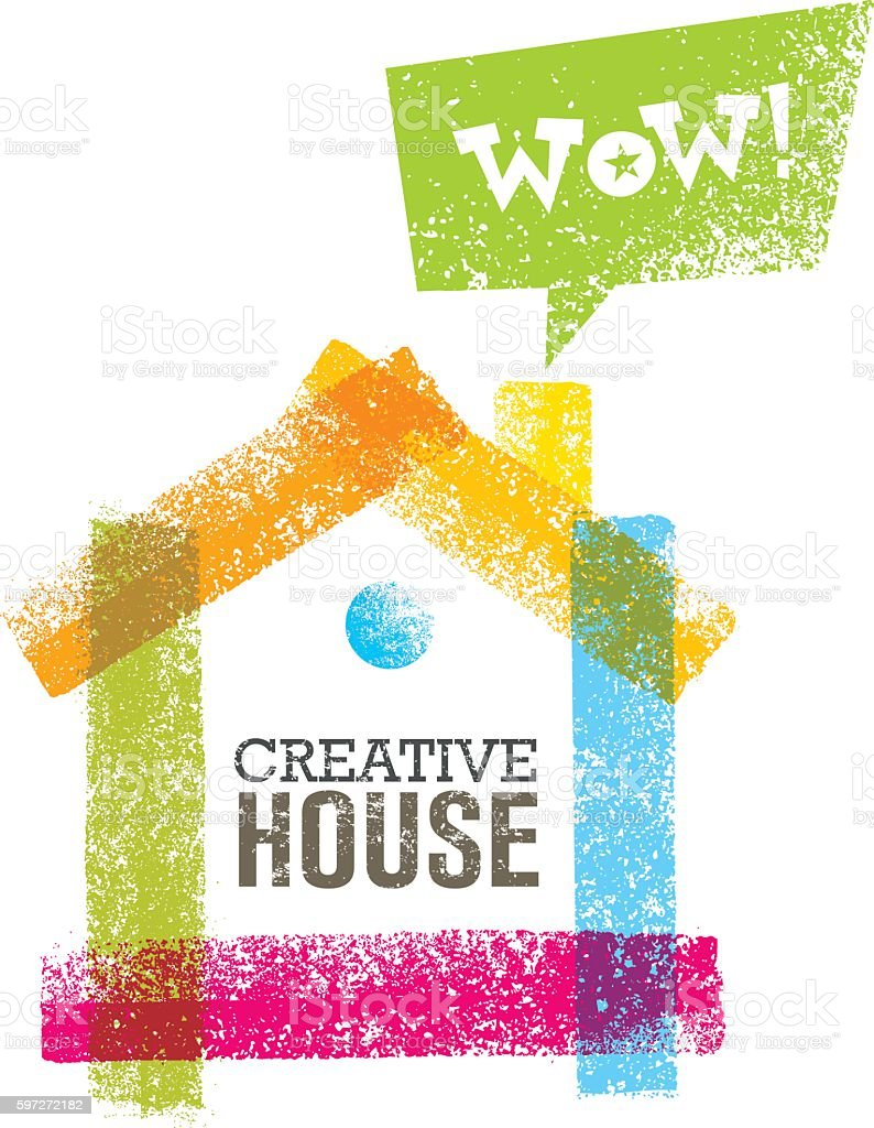 Conceptual Grunge Brush Creative House Vector Art Illustration royalty-free conceptual grunge brush creative house vector art illustration stock vector art & more images of abstract