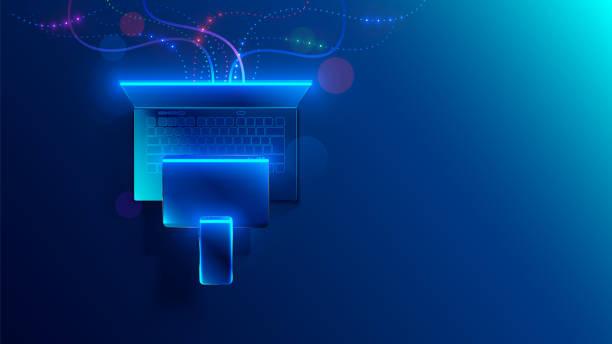 Conceptual illustration digital technology. Hanging smart phone, tablet, laptop. Porting programs to mobile platforms. development of cross-platform software for desktop and mobile devices. vector art illustration