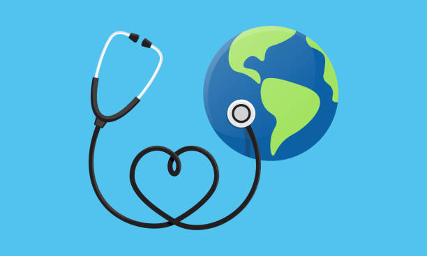Conceptual illustration of a heart earth world globe with a stethoscope wrapped around it. World Health Day. Vector illustration Conceptual illustration of a heart earth world globe with a stethoscope wrapped around it. World Health Day. Vector illustration world health day stock illustrations