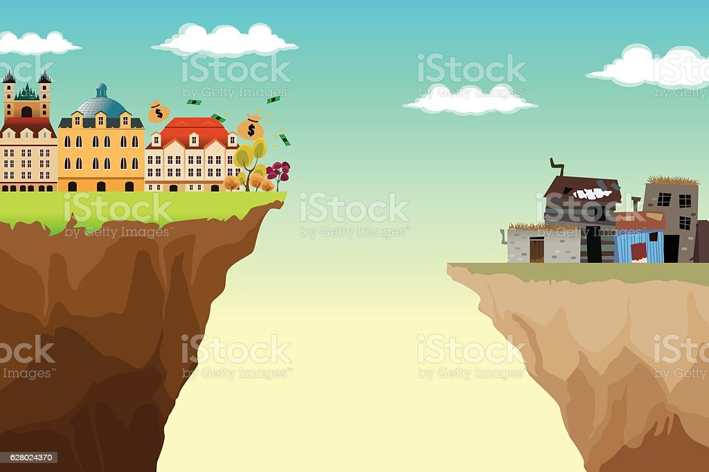 Conceptual Illustration of Gap Between Rich and Poor - Grafika wektorowa royalty-free (Bez ludzi)