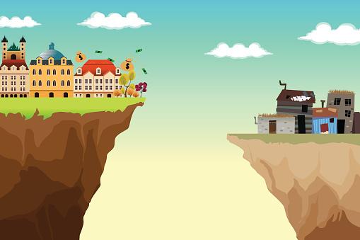 Conceptual Illustration Of Gap Between Rich And Poor - Stockowe grafiki wektorowe i więcej obrazów Bez ludzi