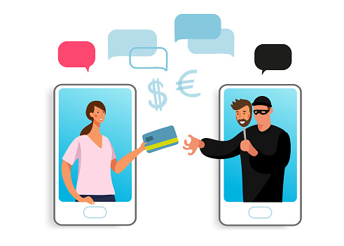 Conceptual illustration of online fraud, cyber crime, data hacking. A woman on the phone screen and the scammer stealing a bank card. Flat vector illustration.