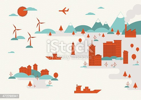 istock Conceptual illustration of urban cityscapes and landscapes 472293341