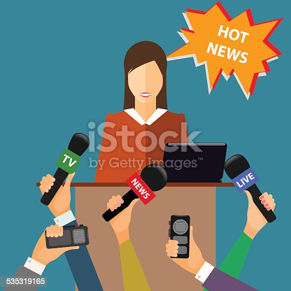 conceptual vector illustration on the theme of breaking news in trendy flat style