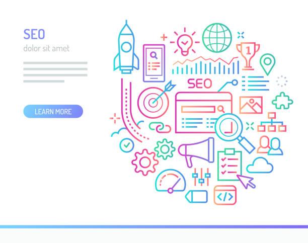 SEO conceptual illustration Search Engine Optimization conceptual illustration. community clipart stock illustrations