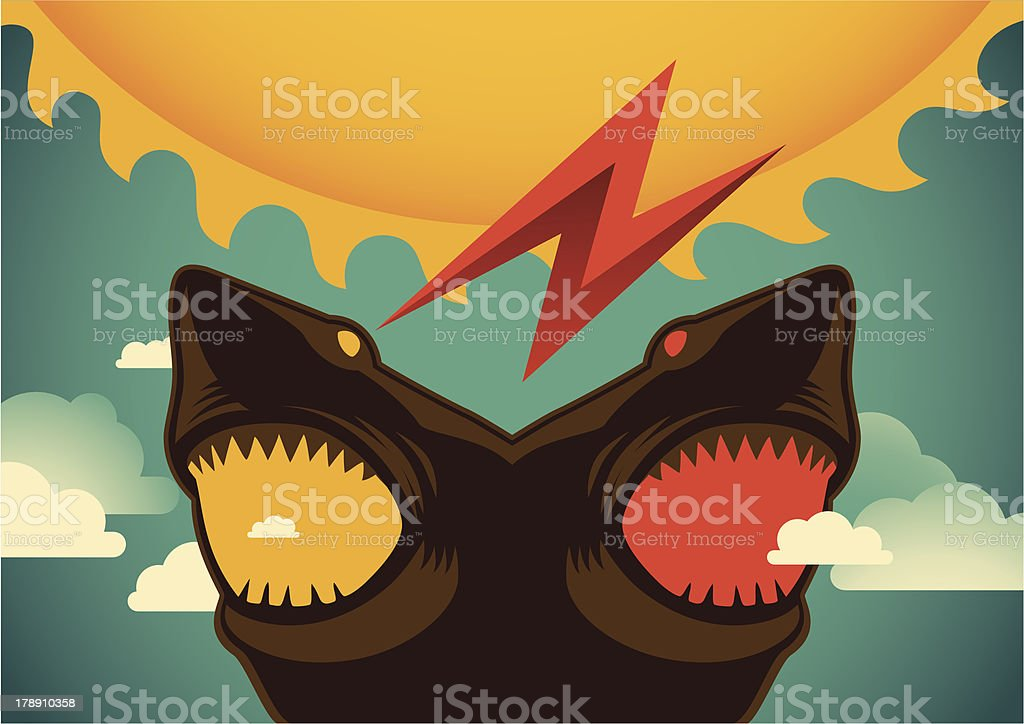 Conceptual illustration with sharks. royalty-free stock vector art