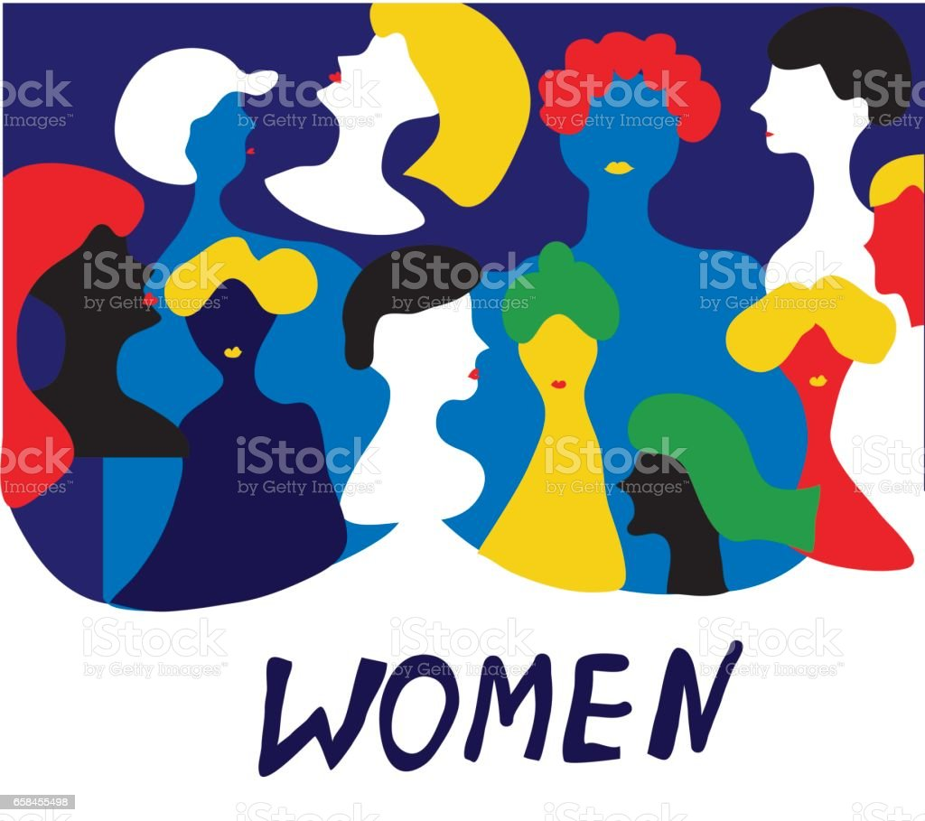 Conceptual illustration with women in group - vector design vector art illustration