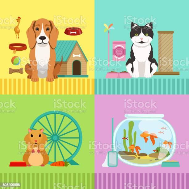 Conceptual illustrations of different pets dog cat hamster and fishes vector id808409958?b=1&k=6&m=808409958&s=612x612&h=bbqeqpsyaaocwtnjqay4dpkqyotfn6nhxmlsjoozuyk=