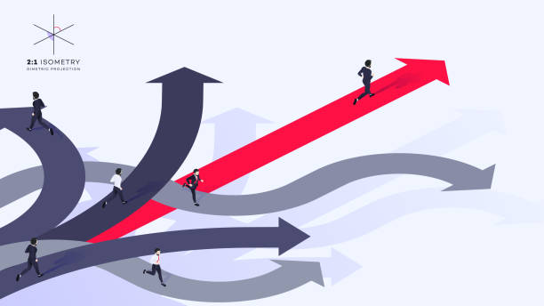Conceptual Isometric Better Choice Vector Illustration 3d Businessman Run Ahead Of The Team Over Red Arrow. He Chose Right Path. Conceptual Isometric Better Choice Vector Illustration. navigational equipment stock illustrations