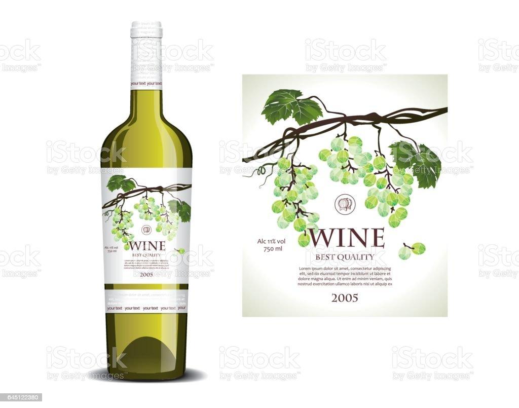 Conceptual label for white wine vector art illustration