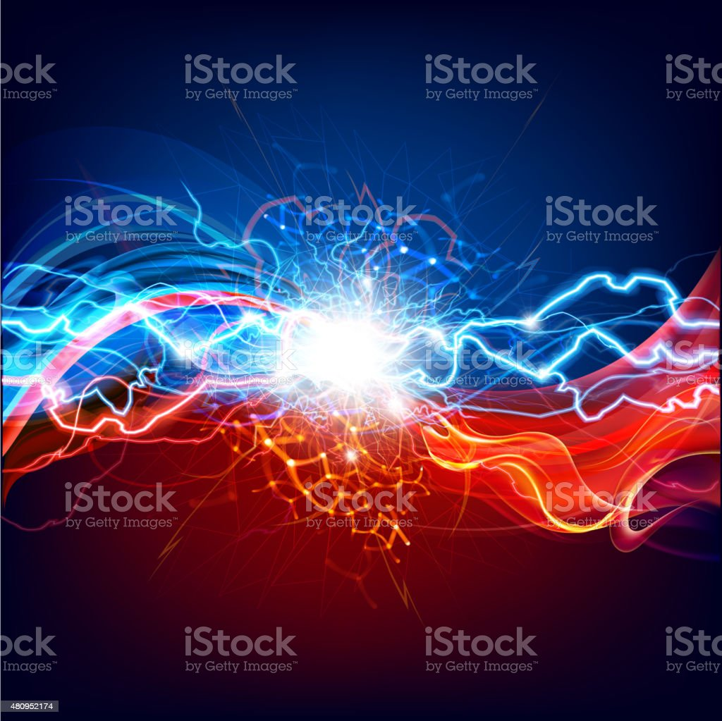 Conceptual Lightning and fire background. vector art illustration