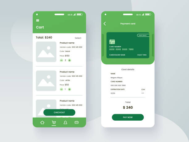 Conceptual mobile phone screen mock-up for application interface presentation. User interface design template in green colors. Online payment GUI concept isolated on grey background. Vector eps 10. vector art illustration