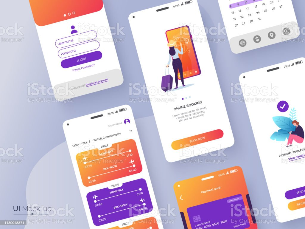 Conceptual Mobile Phone Screen Mockup For Application Interface Presentation User Interface Design Template Ui Ux Gui Concept Isolated On Grey Background Vector Eps 10 Stock Illustration Download Image Now Istock