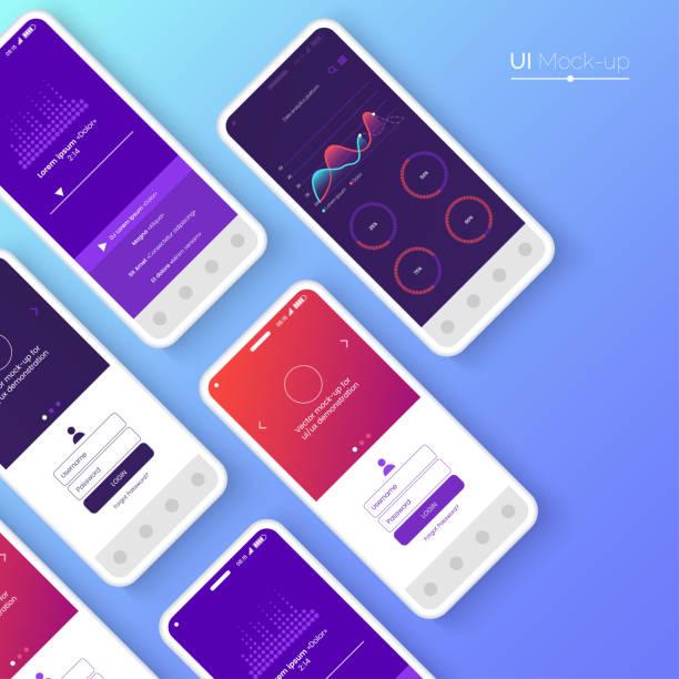 Bекторная иллюстрация Conceptual mobile phones for user interface, user experience presentation. Smartphone mock-up. Mobile app interface design concept. Vector eps 10.