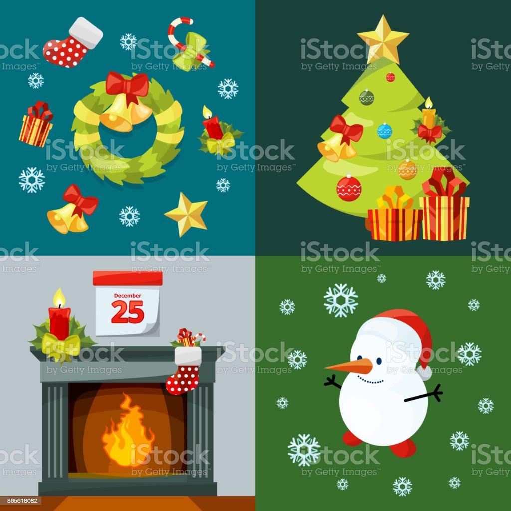 Weihnachtsfeier Cartoon.Konzeptionelle Bilder Der Weihnachtsfeier Vektorillustrationen Im