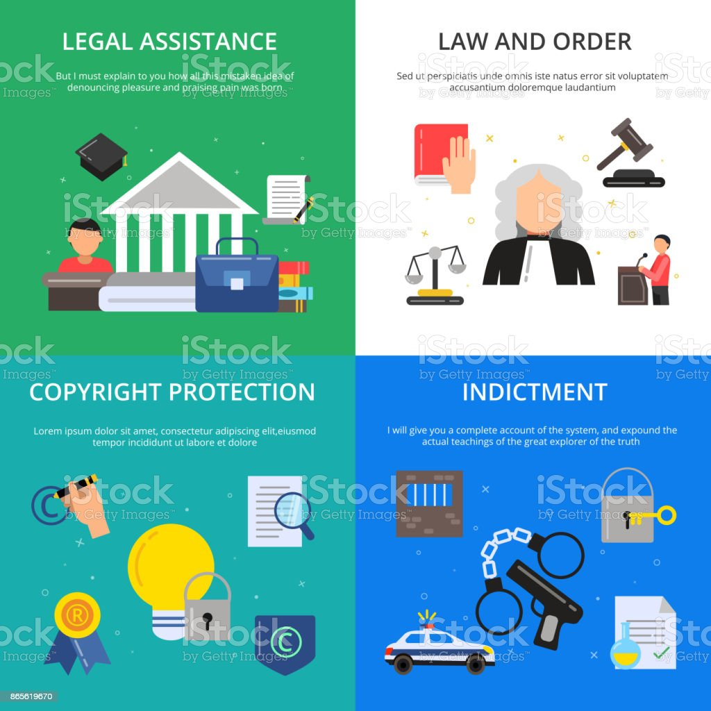 Fotos conceituais da justiça penal. Ilustrações de advogado, juiz e outras pessoas em estilo simples - ilustração de arte em vetor