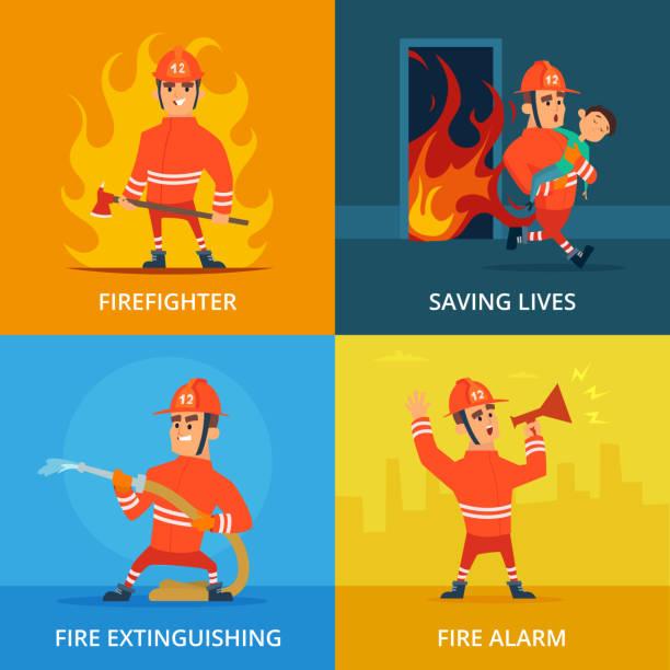 消防士および作業装置の概念図 - 消防士点のイラスト素材/クリップアート素材/マンガ素材/アイコン素材
