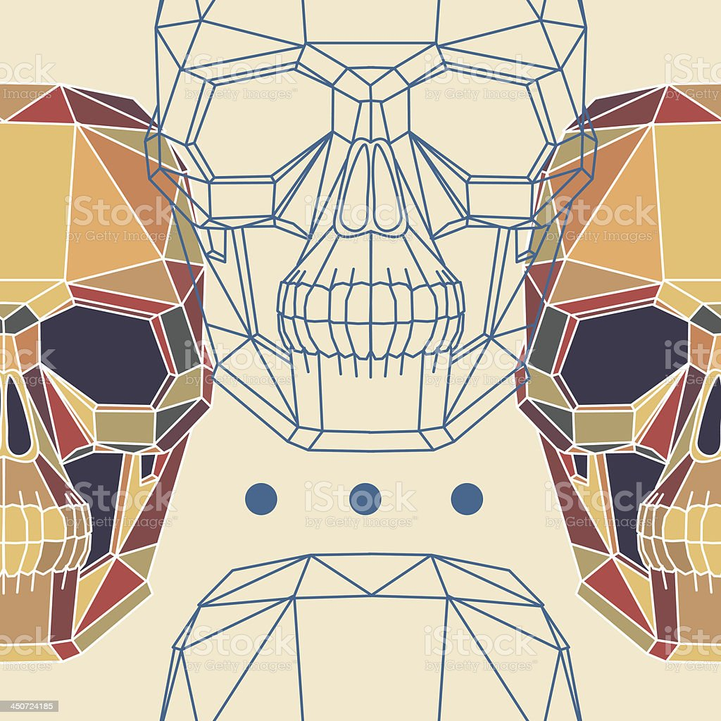 Conceptual polygonal human skull. Abstract vector seamless pattern. royalty-free stock vector art