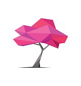 Conceptual polygonal tree. Abstract vector Illustration, low poly style