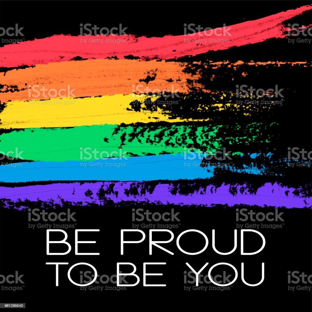 Cartel conceptual con la bandera del arco iris y Letras - ilustración de arte vectorial