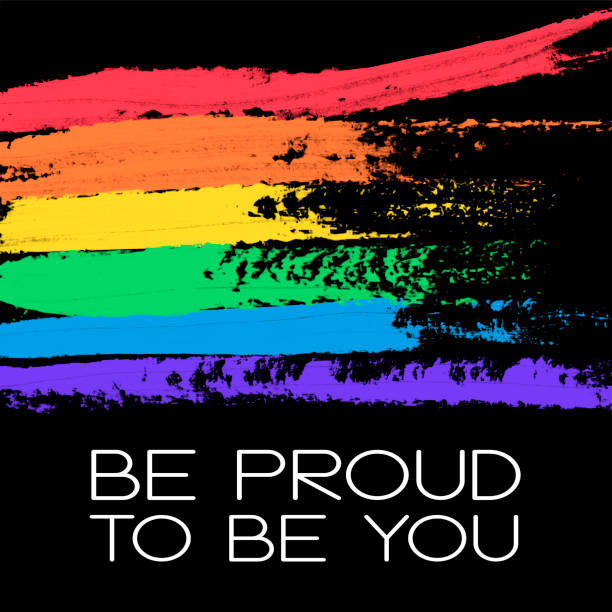 Conceptual poster with rainbow flag and lettering vector art illustration