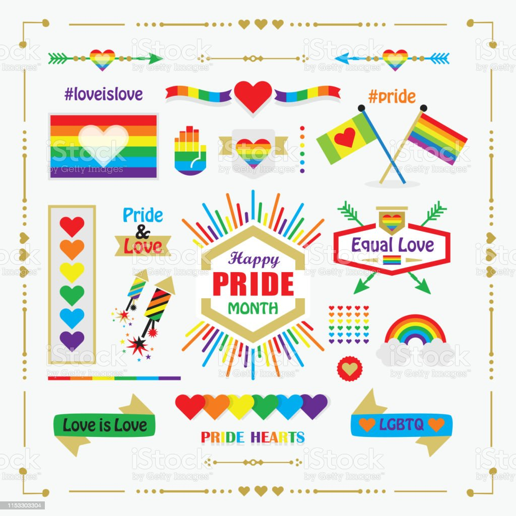 Conceptual Pride Rainbow Color Hands Icons With Hearts Icons
