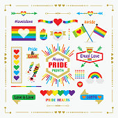 Conceptual pride rainbow color hands icons with hearts icons set on off white background