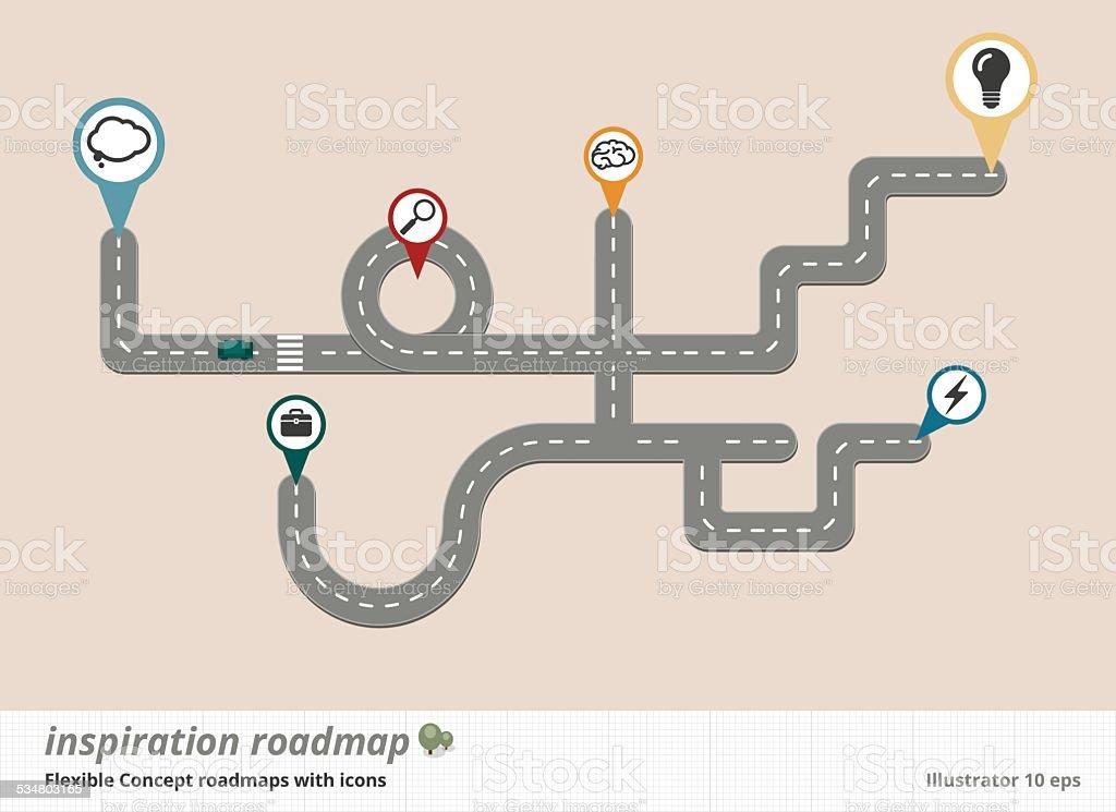 Konzeptionelle Straßenkarte Design und Inspiration – Vektorgrafik