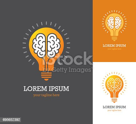 Conceptual symbol with linear brain icon inside a light bulb. Creative idea, mind, thinking.