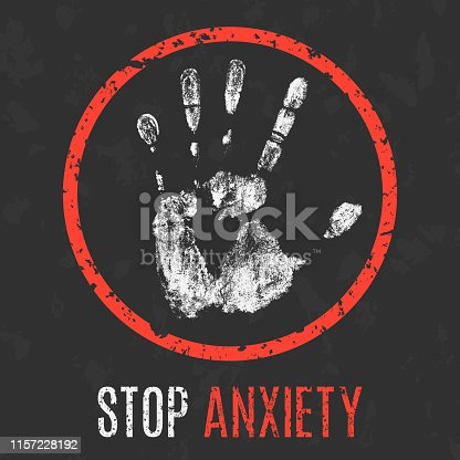 Conceptual vector illustration. Negative human emotions. Stop anxiety sign