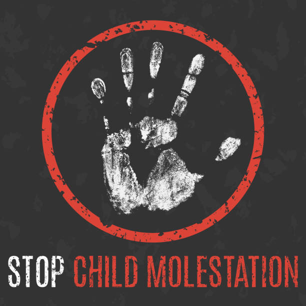 conceptual vector illustration. social problems of humanity. stop child molestation sign. - child abuse stock illustrations
