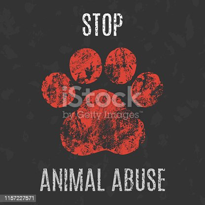 Conceptual vector illustration. Social problems of humanity. Stop animal abuse