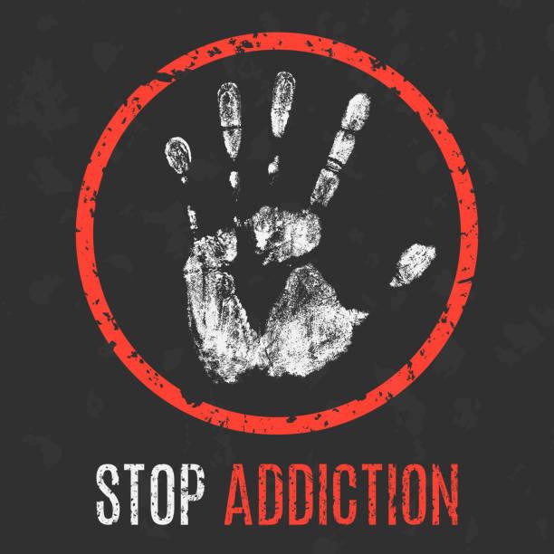 illustrazioni stock, clip art, cartoni animati e icone di tendenza di conceptual vector illustration. the bad character traits. stop addiction. - assuefazione