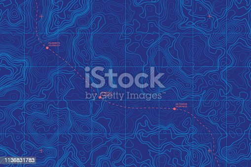Sea Depth Topographic Map With Route And Coordinates Conceptual User Interface Blue Abstract Background. Bermuda Triangle