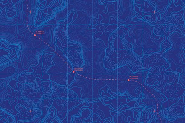 개념적 벡터 해 깊이 지형 지도 - 바다 stock illustrations
