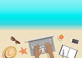 Conceptual horizontal summer banner businessman working on beach, top view. Hands black man at computer with notebook and devices hat sunglasses and juice. Vector flat. Cover for booklet, flyer
